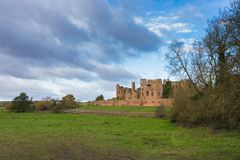 Kenilworth Castle Warwickshire. Ruined walls and towers of Kenilworth Castle on a bright Autumn day, Kenilworth, Warwickshire, England, UK, November 2017 Royalty Free Stock Image