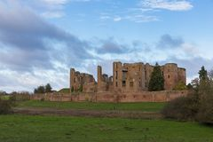 Kenilworth Castle Warwickshire. Ruined walls and towers of Kenilworth Castle on a bright Autumn day, Kenilworth, Warwickshire, England, UK, November 2017 Royalty Free Stock Photography