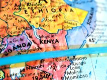 Kenja Afryka ostrości makro- strzał na kuli ziemskiej mapie dla podróż blogów, ogólnospołecznych środków, strona internetowa szta Obraz Royalty Free
