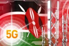 Kenja 5G przemysłowa ilustracja, ogromny komórkowy sieć maszt lub wierza na techniki tle z flagą, - 3D ilustracja ilustracja wektor