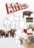 Kenja mapa z flaga i zwierzętami Fotografia Royalty Free