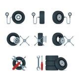 Kenmerkende druk en de hulpmiddelen van vervangingswielen Automobiele banden, geplaatste schijven vectorpictogrammen Het ontwerpe vector illustratie