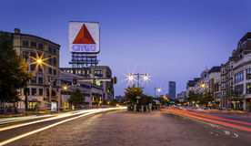 Kenmore Square. Panoramic view of Boston in Massachusetts showcasing the Kenmore Square at sunset royalty free stock photo