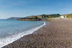 Kennack Sands beach Cornwall the Lizard Heritage coast South West England with blue sky on a sunny summer morning Royalty Free Stock Images