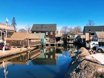 Kennebunk city winter landscape royalty free stock images