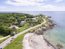 Kennebunkport, Maine. A coastal road and beach in Kennebunkport, Maine, known for its upscale houses Stock Photos