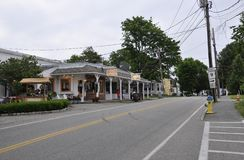 Kennebunkport, Maine, am 30. Juni: Im Stadtzentrum gelegenes historisches Gasthaus von Kennebunkport in Maine-Staat von USA stockfotografie