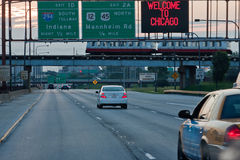 Kennedy Expressway Chicago. Driving on Kennedy Expressway, 94, arriving in Chicago, Illinois, USA, a sign Welcom to Chicago Stock Photography
