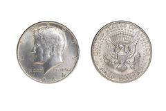 Kennedy Fifty Cent Piece - 1964. Half dollar obverse and reverse . Isolated on white background