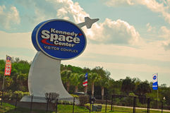 KENNEDY SPACE CENTER VISITOR COMPLEX. This is the great sign and entrance to the Kennedy Space Center and VIsitor Complex at the Cape - This is the area from Stock Photography