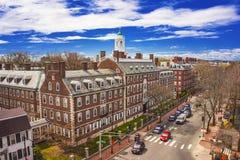 Kennedy Street and Eliot House belltower at Harvard University A. Aerial view on John Kennedy Street in the Harvard University Area in Cambridge, Massachusetts Stock Photos