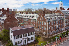 Kennedy Street and Eliot House belltower in Harvard University A. Aerial view on John F Kennedy Street in the Harvard University Area in Cambridge, Massachusetts stock images