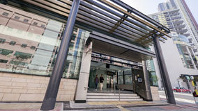 Kennedy Town Station Exit A - die Ausdehnung der Insel-Linie zum Westbezirk, Hong Kong Stockfotos