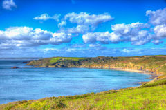 Kenneggy Sand Cornwall England near Penzance and Praa in colourful HDR Royalty Free Stock Photo