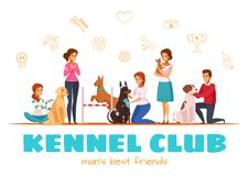 Kennel Club Vector Illustration. Kennel club cartoon vector illustration with male and female characters and their pets of different breeds Stock Photography