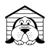 Kennel dog. Icon with lying in a kennel dog Royalty Free Stock Photo