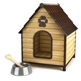 Kennel. Doghouse and bone in bowl. Isolated on white baclground stock illustration