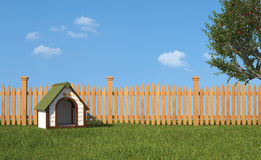 Kennel on grass in the garden Stock Image