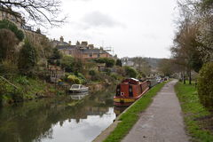 Kennet and Avon Canal in Bath, England, United Kingdom. A canal in Bath, England. The photograph was taken in March 2017 on an overcast day Stock Photos