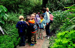 Kennett Square, PA: Children Visiting Longwood Gardens. Kennett Square, Pennsylvania:  A group of school children with their teachers on a visit to the Royalty Free Stock Image