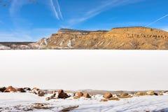 Kenney rezerwuar W północnym zachodzie Kolorado, Marznący Fotografia Royalty Free