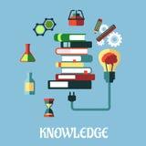 Kennis en Webonderwijs vlak ontwerp Royalty-vrije Stock Foto's