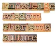 Kennis, wijsheid, charisma en cultuur royalty-vrije stock afbeeldingen