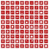 100 kennispictogrammen geplaatst grunge rood Stock Foto's