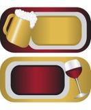 Kennsätze für alkoholisches Getränk Stockbilder