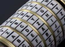 Kennwort oder Schlüsselwort - Kombinationspuzzlespielkasten stockbilder