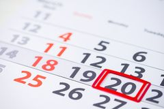 Kennzeichen der Tageszahl 20 auf dem Kalender Lizenzfreies Stockfoto