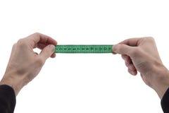 Kennzeichen des Mannes Handauf Zentimeterband Stockbild