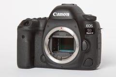 Kennzeichen IV Canon EOS 5D profesional DSLR Fotokamera auf weißem reflektierendem Hintergrund Lizenzfreies Stockfoto