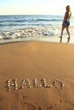 Kennzeichnen Sie auf Strand Lizenzfreies Stockbild