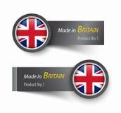 Kennzeichnen Sie Ikone und Aufkleber mit dem Text, der im Vereinigten Königreich von Großbritannien hergestellt wird Lizenzfreies Stockbild