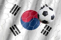 Kennzeichnen Sie Südkorea mit einem Fußball auf einem Gebiet Lizenzfreie Stockbilder