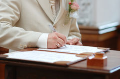 Kennzeichnende Verbindungslizenz des Bräutigams Lizenzfreie Stockfotos