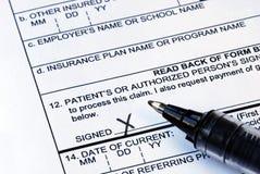 Kennzeichnet das medizinische Antragsformular Lizenzfreies Stockfoto