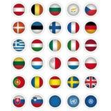 Kennzeichnet Ikonen der aller Mitgliedsstaaten der EU, E Lizenzfreies Stockfoto