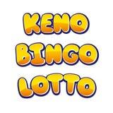 Keno Bingo Lotto. Handdrawing Logos Stock Photo