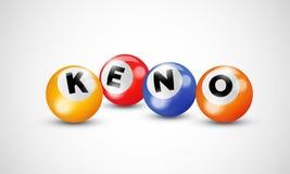Keno lottery balls numbers for bingo lotto gamble vector poster. Keno lottery 3d balls numbers for bingo lotto gamble vector poster template background Stock Photo