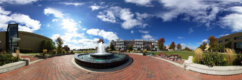 Kenosha Museum Fountain Panorama Stock Image