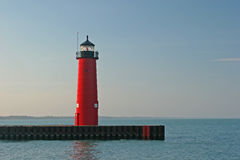 Kenosha Pier Lighthouse. Lighthouse on pier in Kenosha Wisconsin Royalty Free Stock Photos