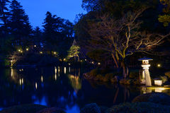 Kenrokuen Garden at night in Kanazawa, Japan Royalty Free Stock Photos