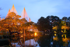 Kenrokuen Garden at night in Kanazawa, Japan Stock Photography
