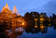 Kenrokuen Garden at night in Kanazawa, Japan Royalty Free Stock Photography