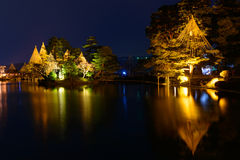 Kenrokuen Garden at night in Kanazawa, Japan Stock Image