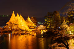 Kenrokuen Garden at night in Kanazawa, Japan Stock Photo