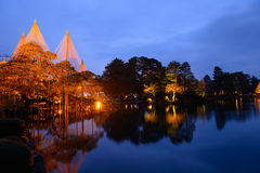 Kenrokuen Garden at night in Kanazawa, Japan Royalty Free Stock Images