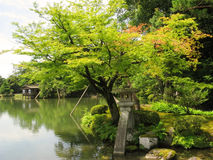 Kenrokuen Garden pond and a wooden house Stock Photography